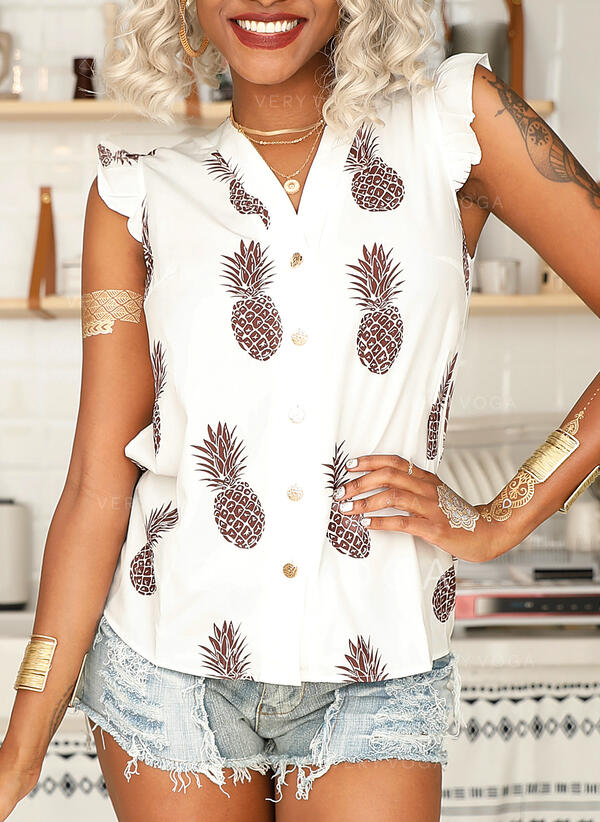 Print V-Neck Cap Sleeve Button Up Casual Shirt Blouses
