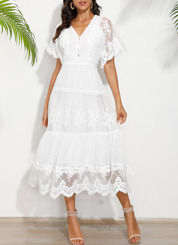 Lace/Solid Short Sleeves A-line Skater Elegant Maxi Dresses