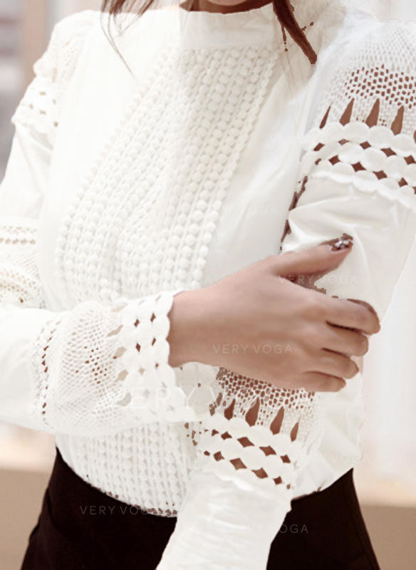 Lace Stand-up Collar Long Sleeves Casual Elegant Shirt Blouses