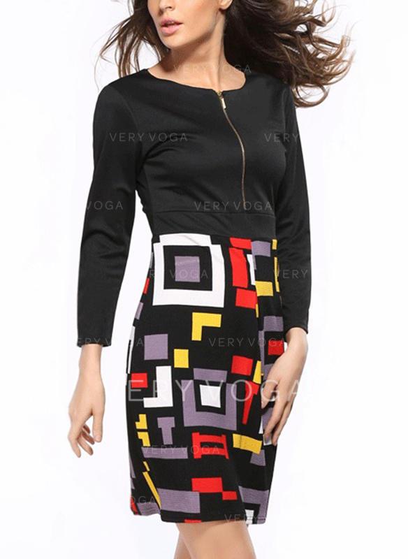 Tisk/Geometrické Print 3/4 rukávy Přiléhavé Nad kolena Neformální Šaty