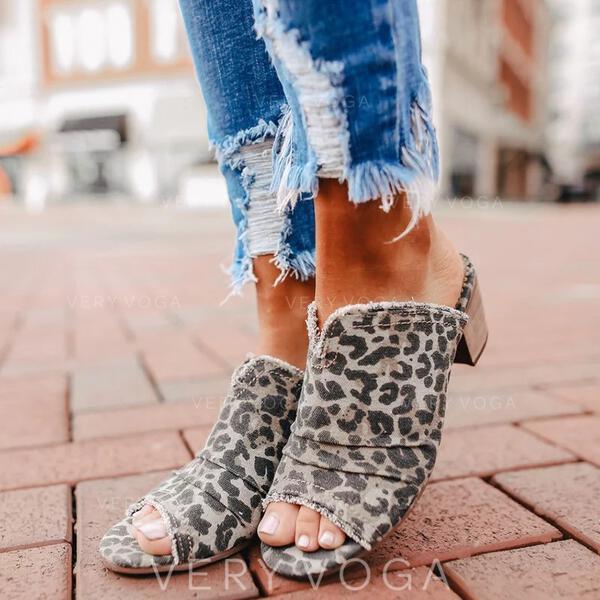 Naisten Mokkanahka Chunky heel Sandaalit Peep toe Tossut jossa Eläinten Tulosta kengät