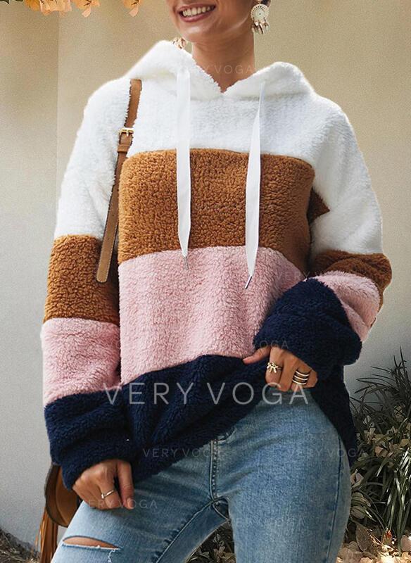 Einfarbig Mit Kapuze Lange Ärmel Pullover