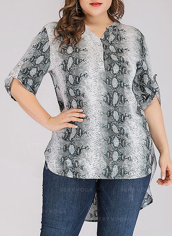 Animal Print V-Neck 3/4 Sleeves Button Up Casual Plus Size Blouses