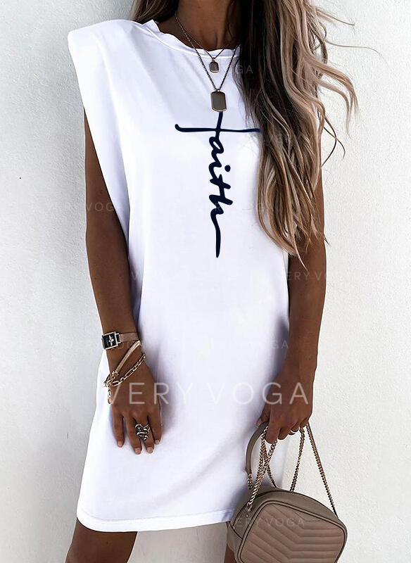 Print/Letter Cap Sleeve Shift Above Knee Casual T-shirt Dresses