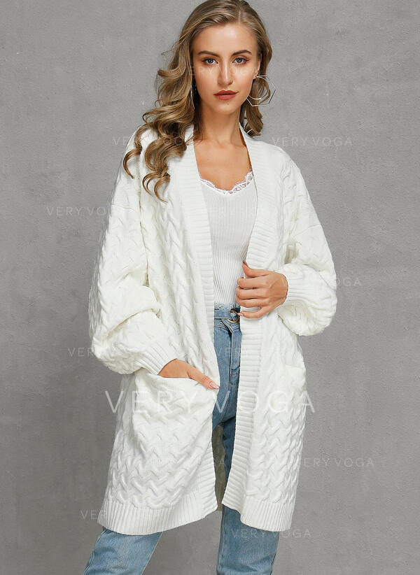 Solid Cable-knit Pocket Casual Long Loose Cardigan