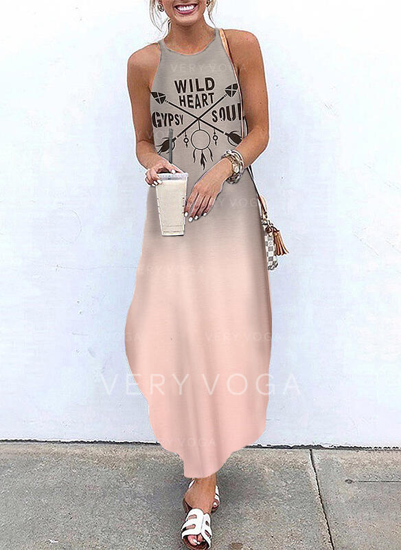 Print/Gradient Sleeveless A-line Slip Casual/Vacation Maxi Dresses
