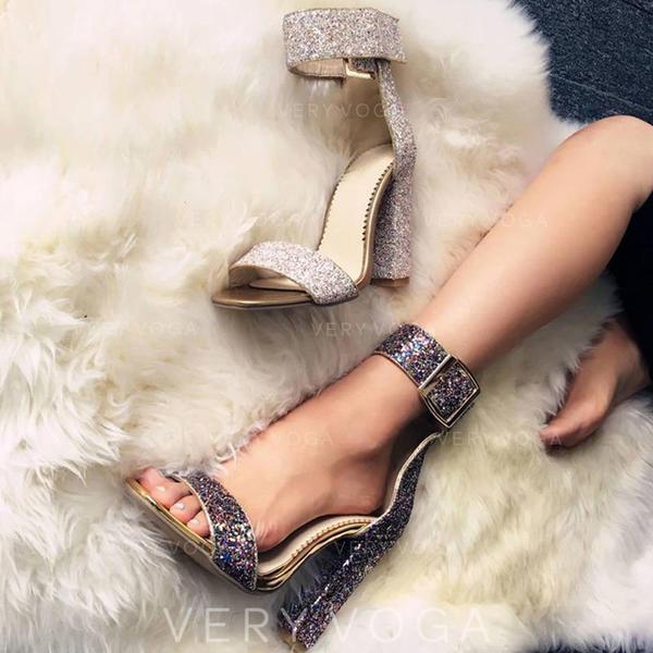De mujer Cuero Tacón ancho Sandalias Salón Encaje Tacones con Lentejuelas Brillo Chispeante Hebilla zapatos