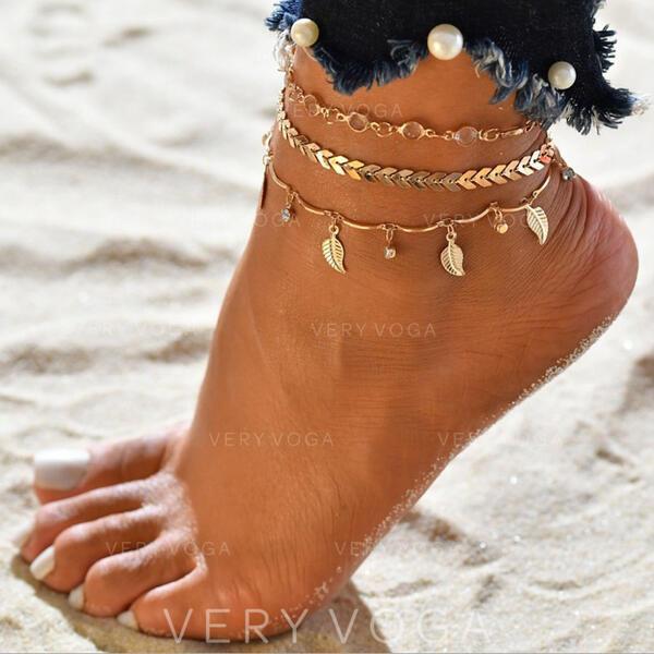 Più caldo lega con Foglia Gioielli da spiaggia Cavigliere (Set di 3)
