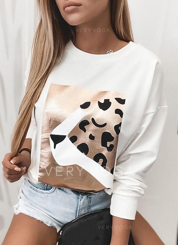 Leopard Print Rund hals Lange ærmer T-shirts