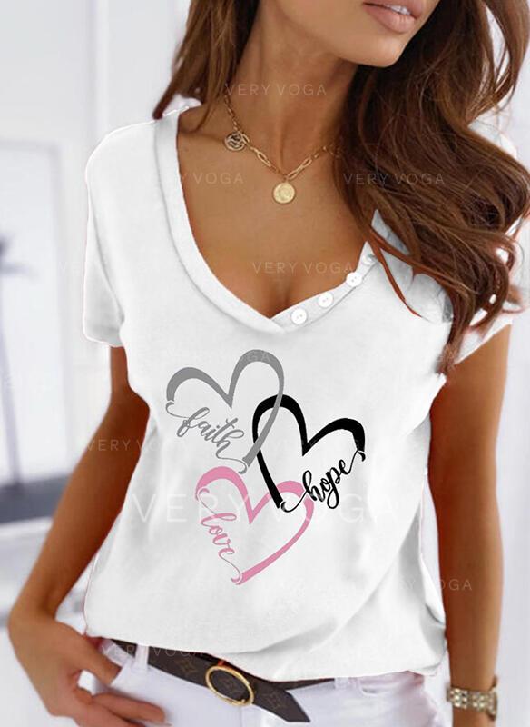Coração Estampado Carta Decote em V Manga Curta Camisetas