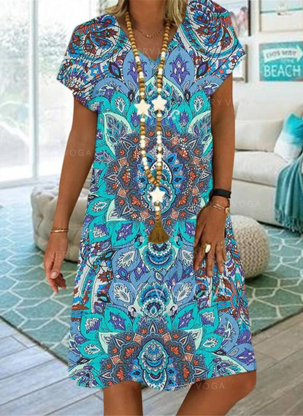 Print Short Sleeves Shift Knee Length Casual/Boho/Vacation Tunic Dresses