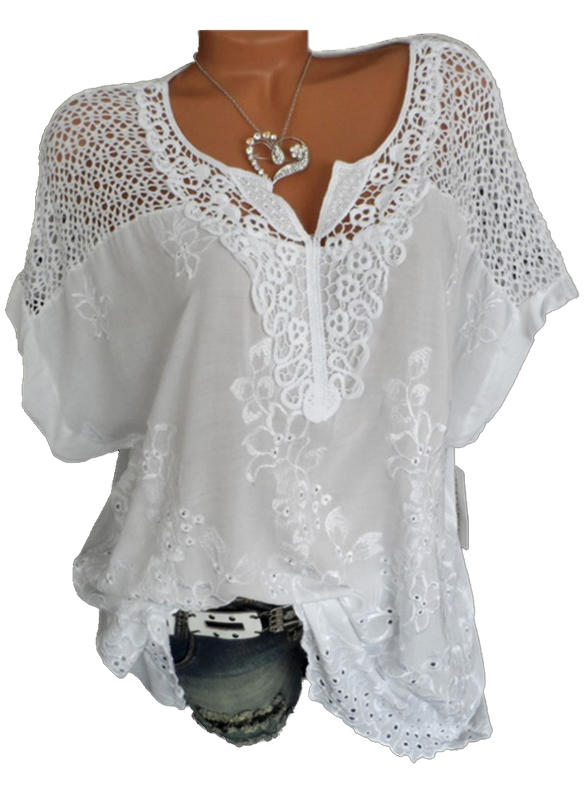 Lace V-Neck Short Sleeves Casual Blouses