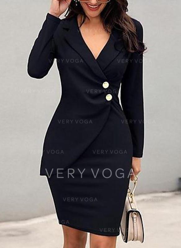 Sólido Manga Comprida Bodycon Comprimento do joelho Vestido Preto/Casual/Elegante Vestidos