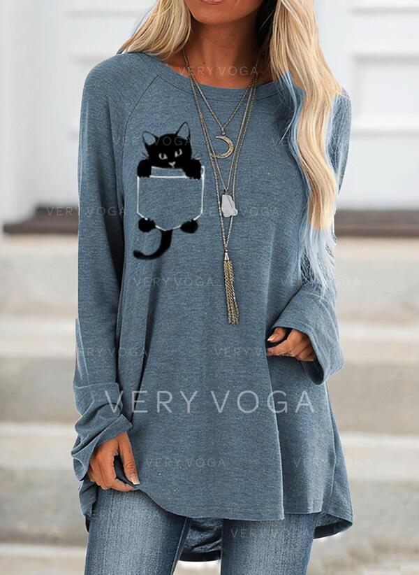 Tierdruck Rundhals Lange Ärmel Pullover