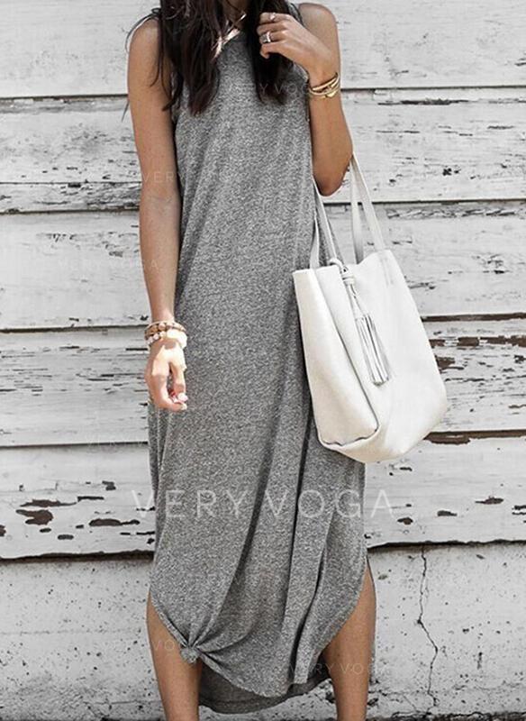 Solid Sleeveless Shift Little Black/Casual Midi Dresses