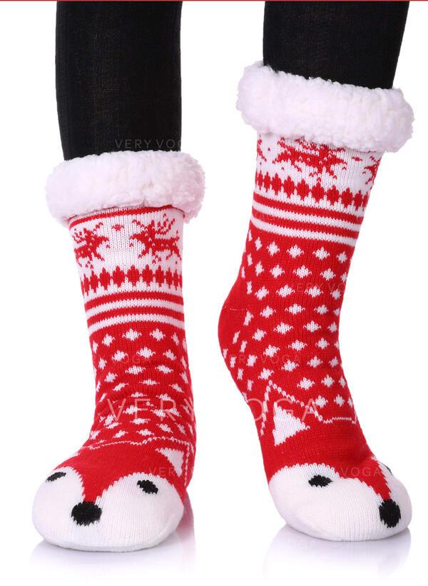 Stampa/Impronta animale Caldo/Natale/Calzini dell'equipaggio/Antiscivolo/Unisex Calzini