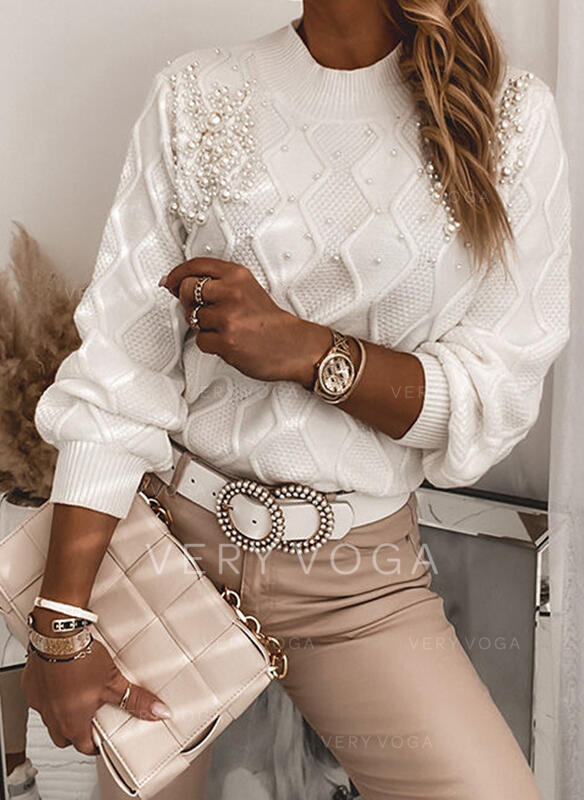 Einfarbig Perlen Rundhals Freizeit Pullover