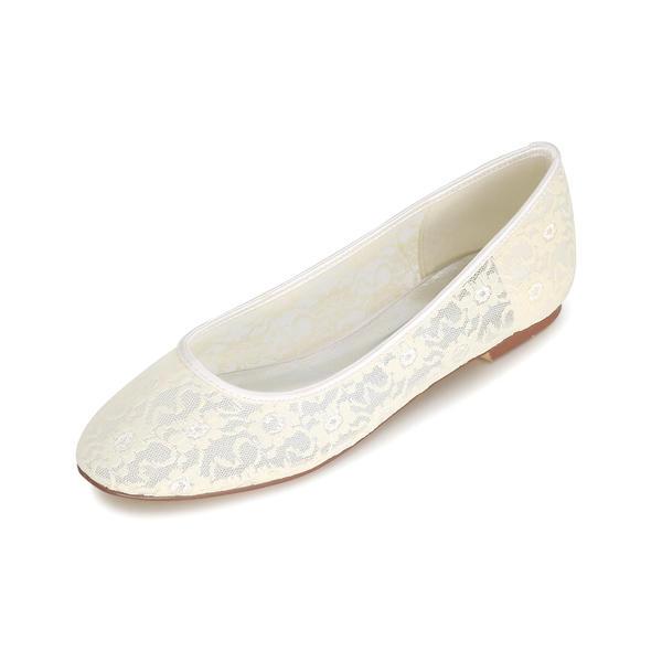 Frauen Spitze Niederiger Absatz Geschlossene Zehe Flache Schuhe