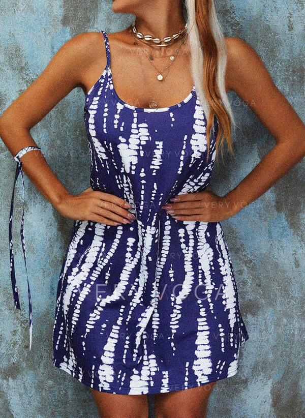 Tie Dye Sleeveless Shift Above Knee Casual Slip Dresses