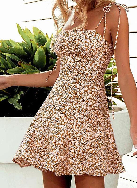 Estampado/Floral Sem mangas Evasê Acima do Joelho Casual/Férias Alça fina Vestidos