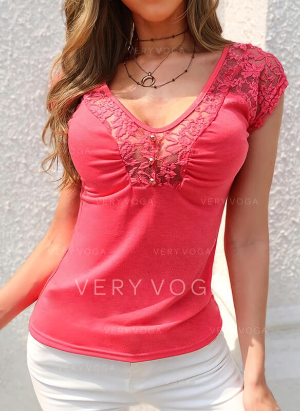 Solid Lace Beaded Round Neck Cap Sleeve Casual Blouses
