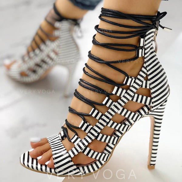 Kvinnor PU Stilettklack Sandaler Peep Toe med Animaliska Tryck Bandage skor