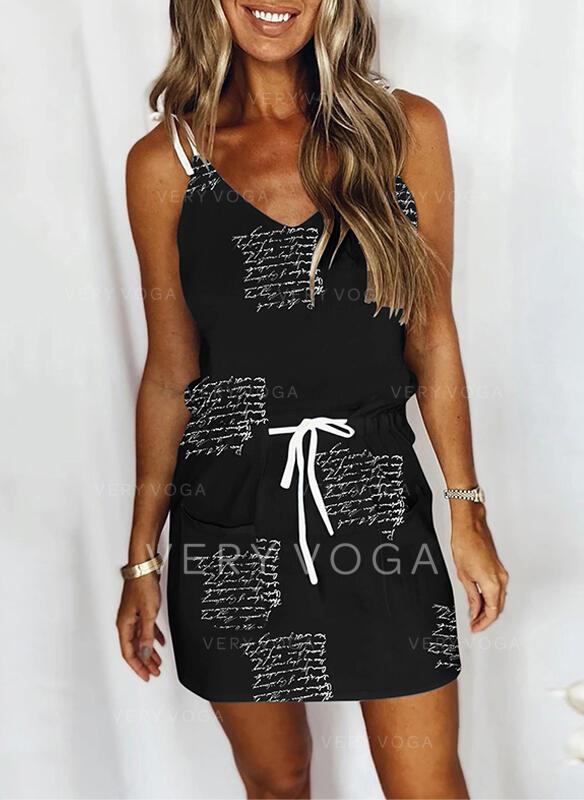 Print/Letter Sleeveless Sheath Above Knee Casual Slip Dresses
