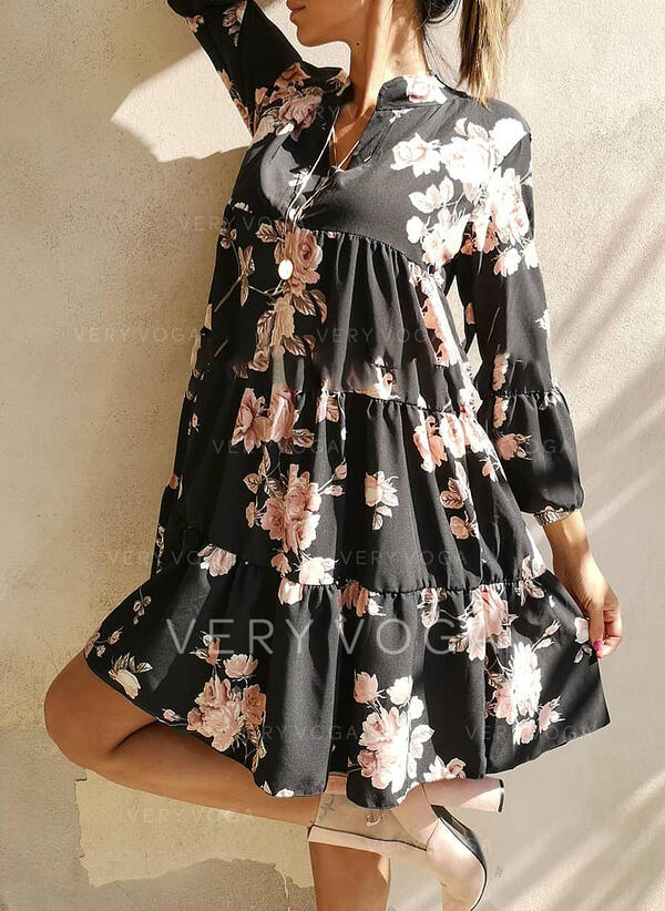 Print/Floral Long Sleeves Shift Above Knee Casual/Vacation Dresses