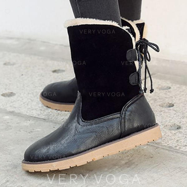 Women's PU Flat Heel Mid-Calf Boots Snow Boots With Lace-up shoes