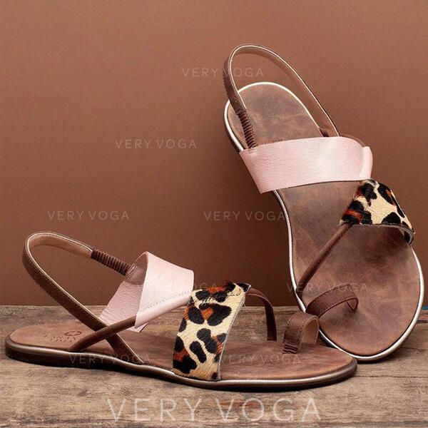 Women's Leatherette Flat Heel Sandals Toe Ring With Split Joint shoes