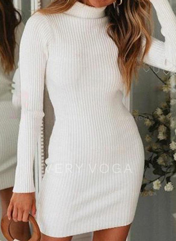 Jednolity Masywna dzianina Golf Sukienka sweterkowa