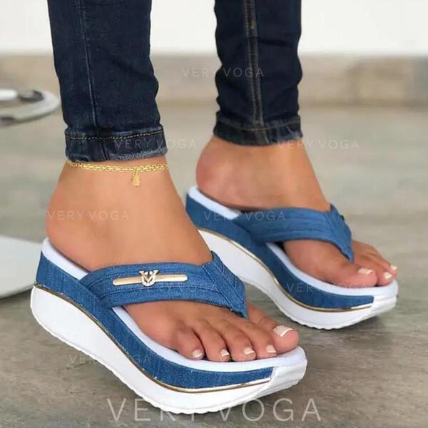 Bayanlar PU Sivri topuk Sandalet platform Takozlar Peep Toe Parmak arası terlik Terlik topuk Ile Oymak Ekleme Rengi ayakkabı