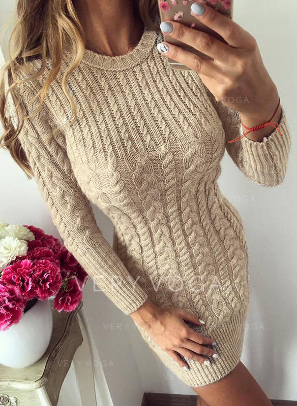Solid/Chunky knit/Cable-knit Long Sleeves Casual/Long/Tight Dresses