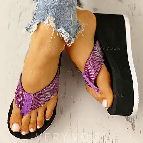 Women's Fabric Wedge Heel Sandals Flats Platform Wedges Peep Toe Flip-Flops Slippers With Others shoes