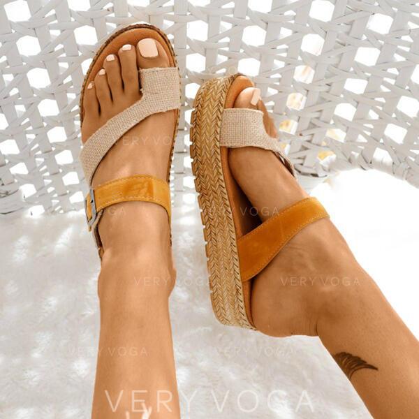 De mujer Cuero Tacón plano Sandalias Planos Encaje Pantuflas Anillo del dedo del pie con Material Block zapatos