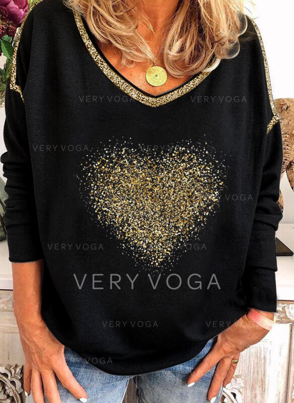Sequins Heart V-Neck Long Sleeves Casual Blouses