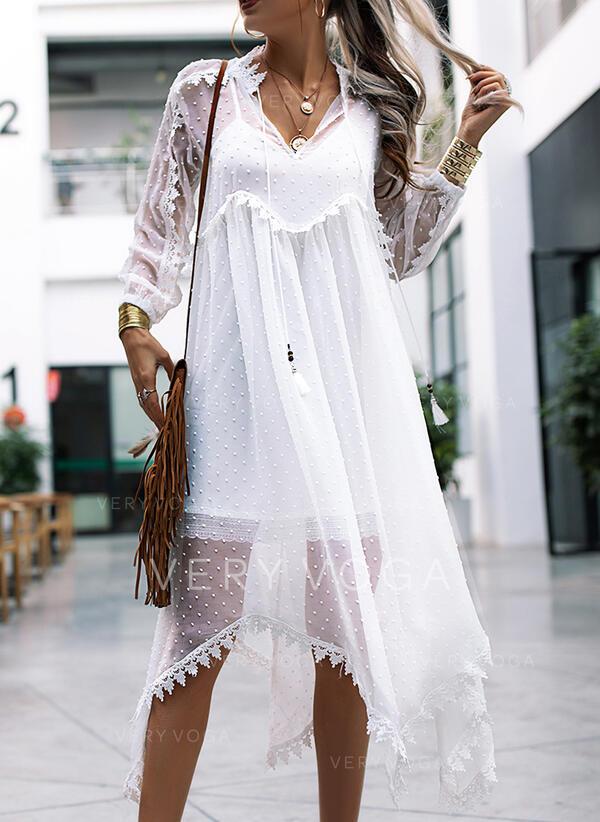 Lace/Solid 3/4 Sleeves Shift Boho/Vacation Maxi Dresses