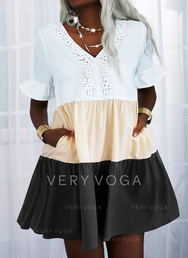 Csipke/Colorblock Rövidujjú Ingruha Térd feletti Hétköznapokra Tunika φορέματα