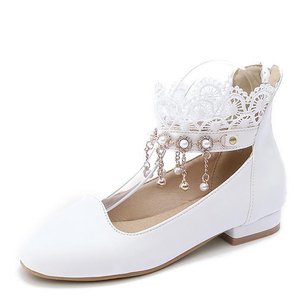 Femmes PU Talon plat Chaussures plates Bout fermé avec Perle d'imitation Tassel chaussures