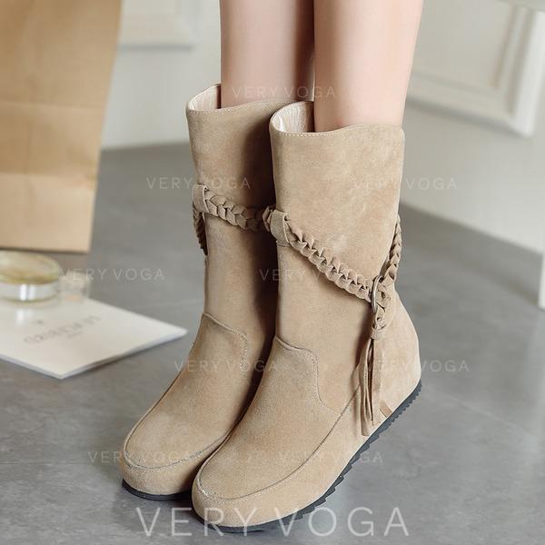 Bayanlar Süet Düz topuk Flats Kapalı Toe bot ayakkabı Orta Buzağı Çizmeleri Ile Örgülü Askı ayakkabı