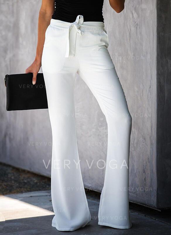 Pockets Shirred Bowknot Long Elegant Sexy Solid Plain Pants