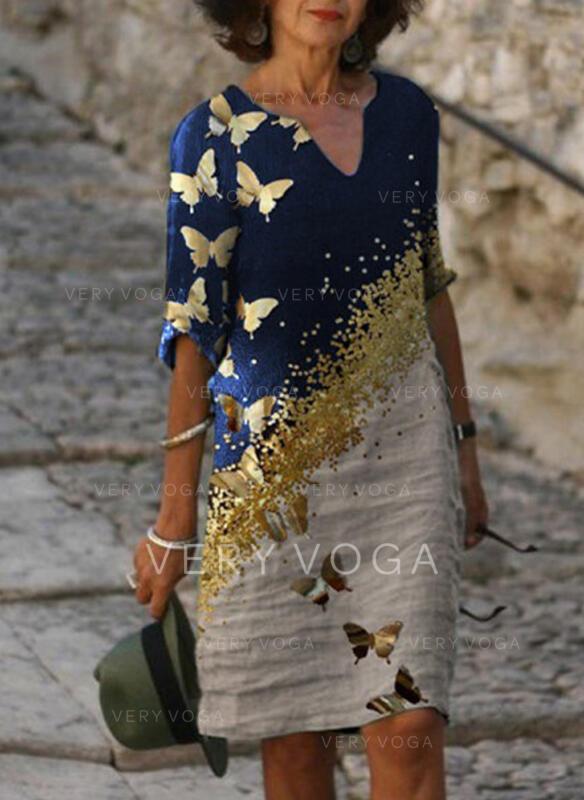 Print/Animal 1/2 Sleeves Shift Knee Length Casual Tunic Dresses