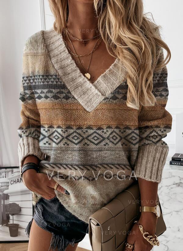 Nadruk V-nyak Hétköznapokra πουλόβερ