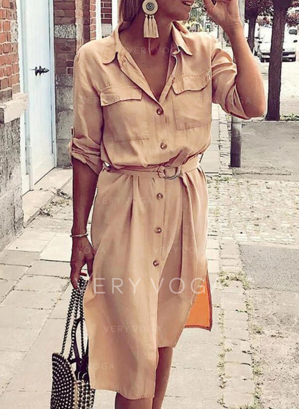 Solid Long Sleeves A-line Skater Casual Midi Dresses