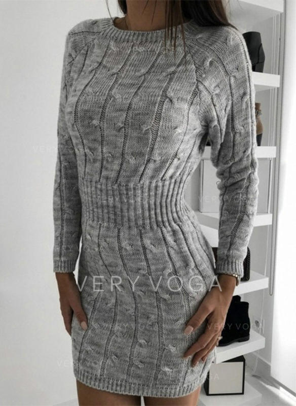 Solid/Chunky knit/Cable-knit Long Sleeves Bodycon Above Knee Casual/Long Dresses
