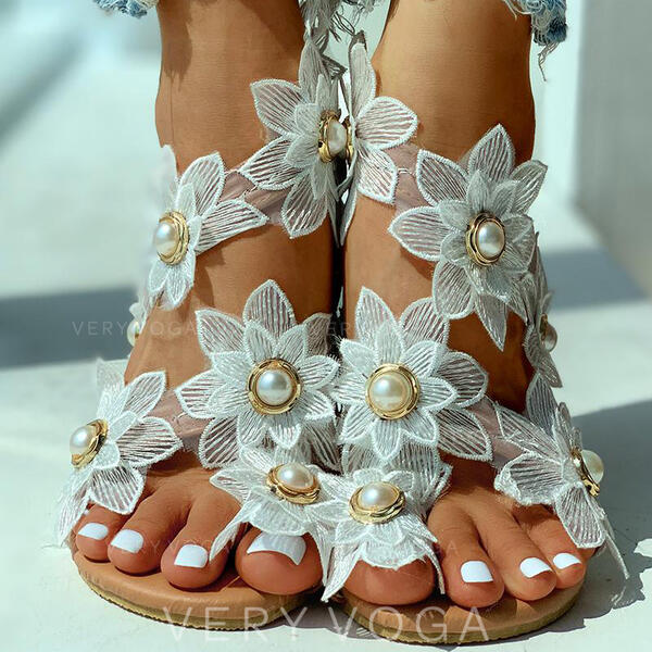 Women's Fabric Flat Heel Sandals Peep Toe With Imitation Pearl Flower shoes