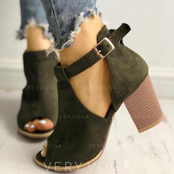 Naisten Mokkanahka Chunky heel Nilkkurit jossa Solki kengät