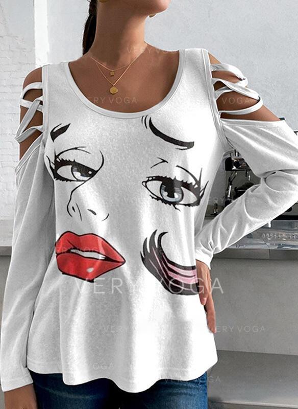 Nadruk Zimne ramię Długie rękawy T-shirty