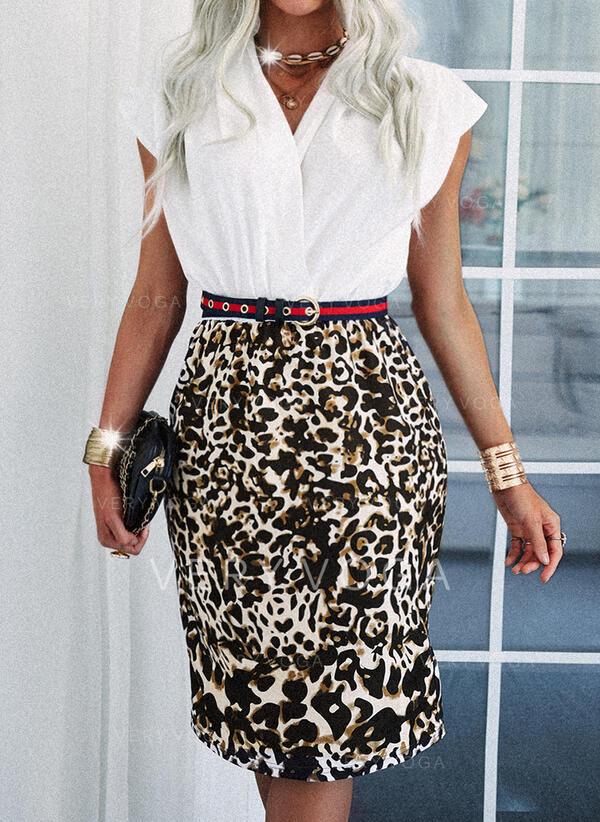 leopard Krátké rukávy Pouzdrové Délka ke kolenům Elegantní Rochii