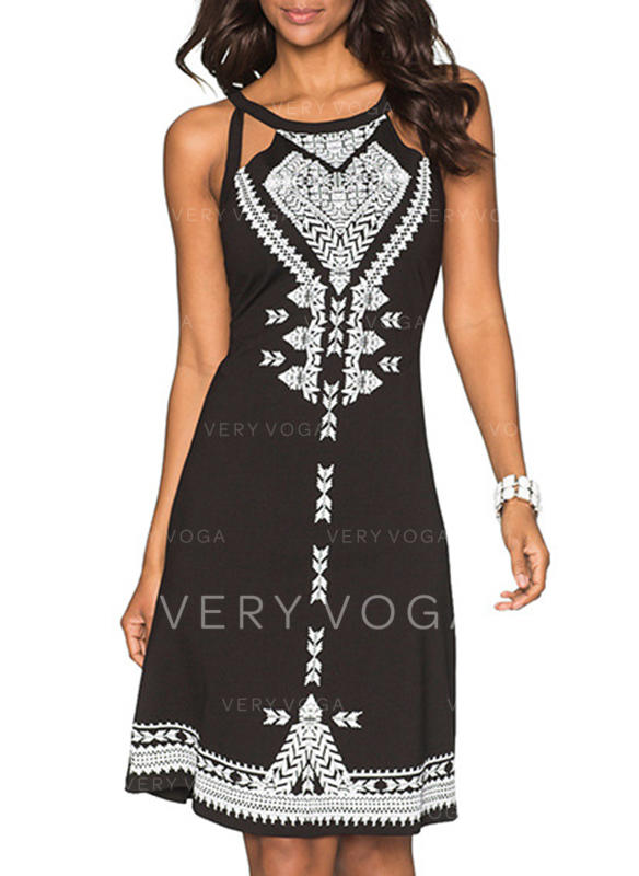 Print Sleeveless A-line Knee Length Casual/Boho/Vacation Dresses